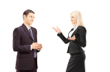 Two businesspeople having conversation together isolated on whit